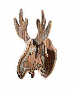 Moose Head Wood Wall Décor - 10.6X11X16.7In