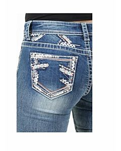 Girls Bootcut Jean With Zig Zag Embroidery