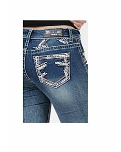 Girls Bootcut Stretch Jean With Zig Zag Pocket