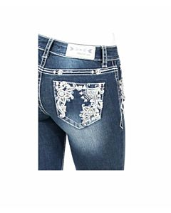 Girls Bootcut Paisley Pocket Jean