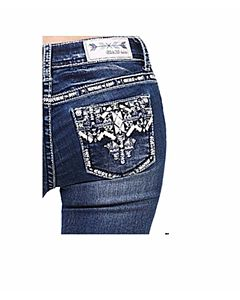 Girls Aztec Leather Pocket Bootcut Jean