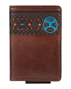Men's Western Card Bifold Leather Embossed Logo Stripe - Brown