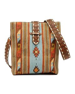 Women's Concealed Carry Aztec Western Print Handbag - Blue