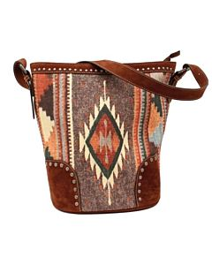 Women's Western Handbag Concealed Carry Aztec Stitch - Brown