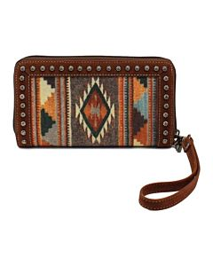 Women's Southwest Aztec Wallet Clutch - Brown
