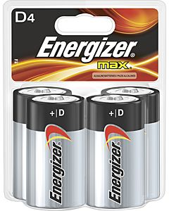 Energizer D Alkaline Batteries, 4/Pack