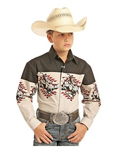 Boys Long Sleeve Bull Rider Snap