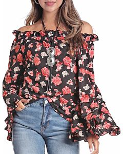 Women's Floral Printed Bell Sleeve Top