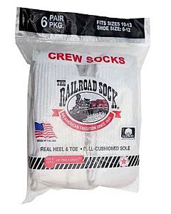 Men's Crew Sock 6 pk - White, 10-13, Regular