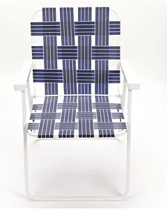 Folding Web Chair White Steel Frame - Blue