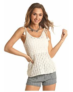 Women's Knitted Tank With Tassel Tie