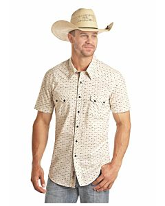 Men's Arrow Print Short Sleeve Snap Shirt