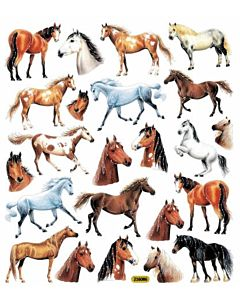 Horse Portraits Sticker Sheet - Multi, 3 +, 6 in X 8.25 in