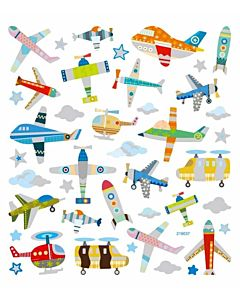Aero Fun Airplane Designs Sticker Sheet - Multi, 3 +, 9 in X 8.25 in
