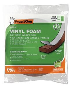 Foam Weatherstrip Tape - 3/4 X 3/16 in X 17 ft