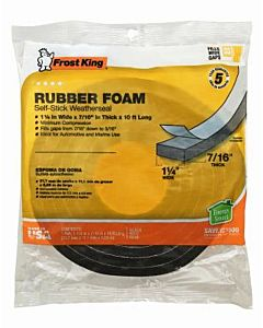 Rubber Foam Black Weatherseal Tape - 1.25X7/16 Inx10 ft