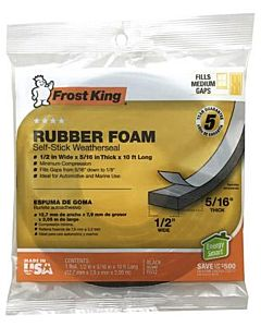 Rubber Foam Weatherseal Tape - 1/2X5/16 in X 10 ft
