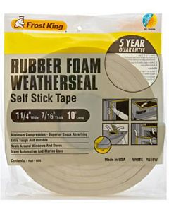 Rubber Foam Weatherseal Tape - 1.25X7/16 Inx10 ft