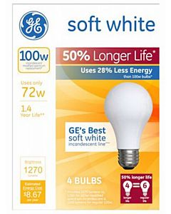 GE Soft White Halogen Bulb Long Life Medium Base 72-Watt 4-Pk.