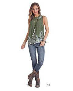 Women's Sleeveless Green Top