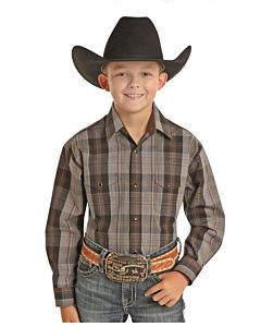 Boys Long Sleeve Snap Down Plaid Shirt