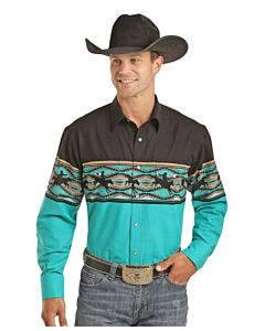 Men's Long Sleeve Snap Shirt-Green