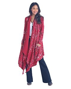 Women's Long Sleeve Bandana Print Jacket
