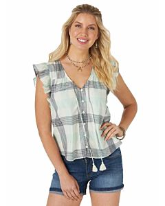 Women's Retro Flutter Sleeve Cotton V Neck With Tie Tassels Button Down Plaid Blouse
